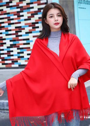 Кашемировый зимний шарф палантин красный