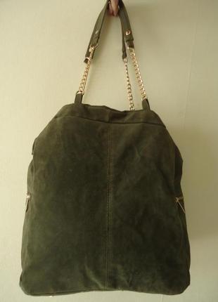 Кожаная замшевая сумка мешок