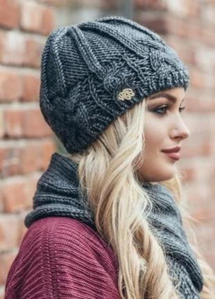 Зимний комплект. шапка на флисе и шарф