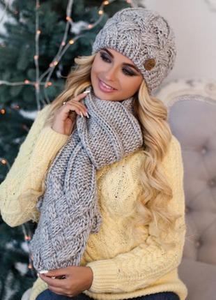 Комплект зима, шапка на флисе и шарф