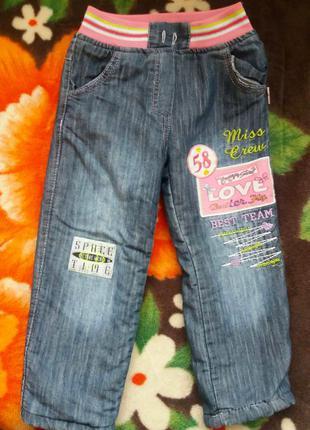 Утепленные джинсы на девочку 3-4 года