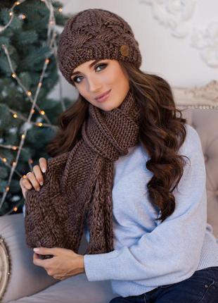 Теплый комплект на флисе, шапка и шарф