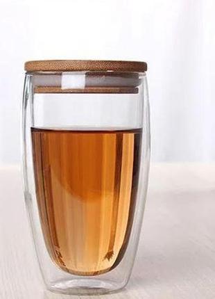 Трендовый стакан с двойной стенкой и бамбуковой крышкой 420мл