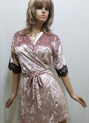 Велюровый халат с кружевом пудра от 44 до 52 размера