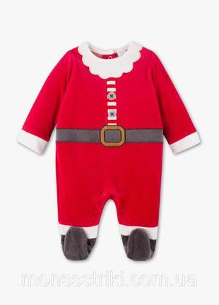 Детский велюровый новогодний комбинезон/человечек от baby club