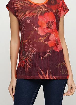 Темно-красная футболка с цветочным принтом ТМ Diyamor