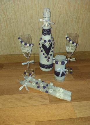 Свадебный набор, свечи, шампанское, бокалы