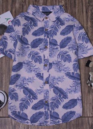 Стильная рубашка шведка с тропическим принтом