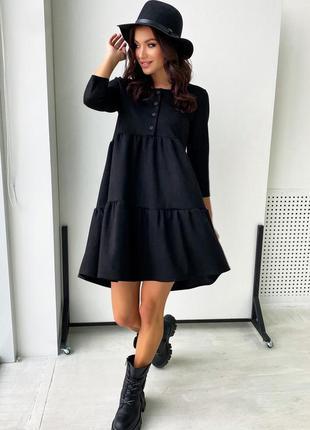 Платье из диагональ-замши черного цвета