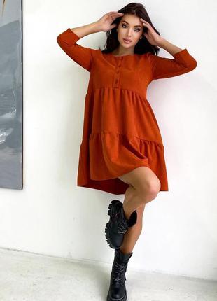 Платье из диагональ-замши терракотового цвета