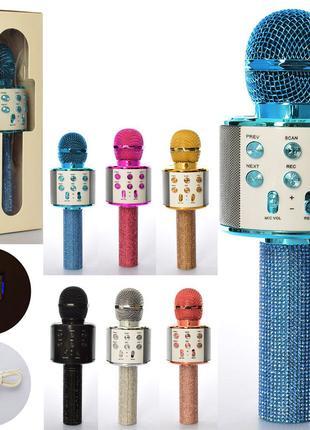 Мікрофон WS 858 Lux 23 см, акумулятор Bluetooth, TF слот, USB зар