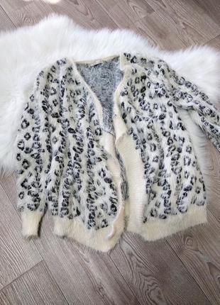 Женский кардиган кофта накидка леопардовый принт травка плюшев...