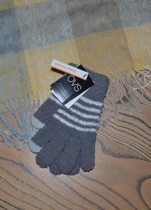 Перчатки ovs. махровые с пальцами для сенсорного телефона