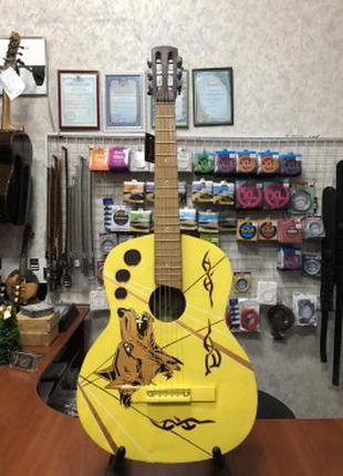 (4330) Гитара с Росписью «Yellow Wolf» Новые Колки и Струны