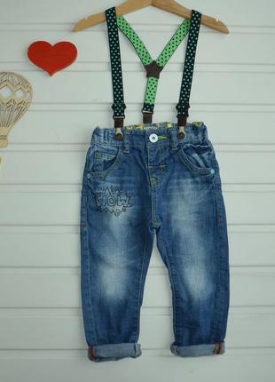 12-18 мес, джинсы с подтяжками,next