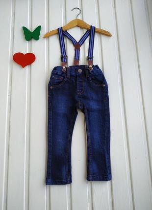 9-12 мес, джинсы с подтяжками,next