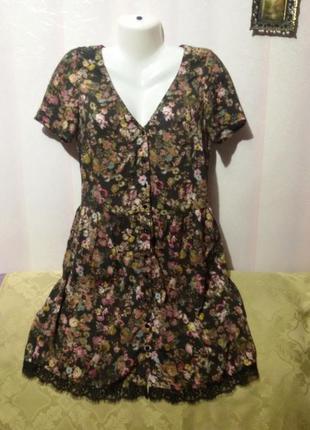 Платье - халат (как натуральный шелк) пог-47 см  мороко   (38)