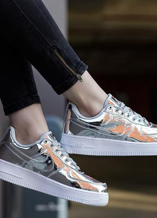 Женские Кроссовки Nike Air Force 1 SP Liquid Metal Silver