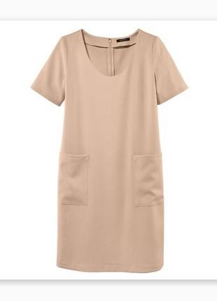 Базовое платье футляр бежевое с карманами esmara