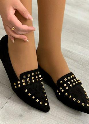 Женские стильные балетки с острым носком и заклепками 23,5см,...