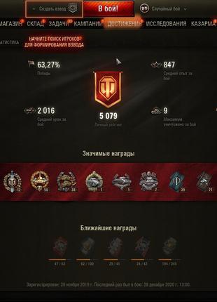 Акаунт World of tanks  вн 8 3300