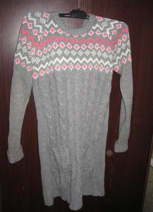Красивое тёплое вязаное туника - платье с капюшоном  в косы ne...