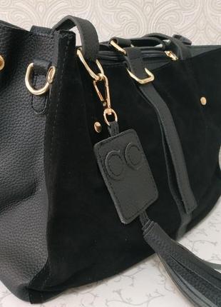 Замшевая черная сумка недорого, натуральная замша осень 2018 з...