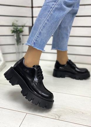 Стильные женские туфли на массивной подошве, туфли на шнуровке