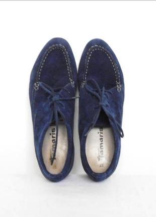 Замшевые кожаные закрытые демисезонные туфли лоферы на шнуровк...