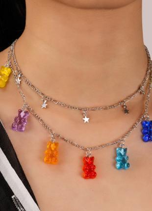 Украшения с мишками ожерелье, двойное со звездочками - длина 43см