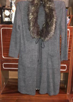 Пальто накидка кардиган манто с искусственным мехом