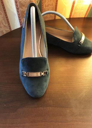 Кожанные балетки макасины туфли изумрудного цвета