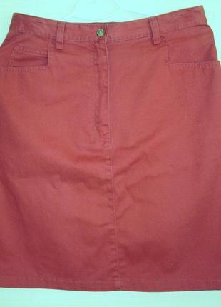 Классная молодежная короткая юбка т- бордо хлопок