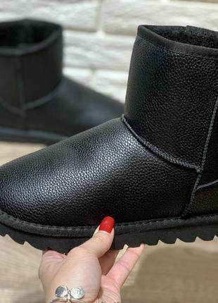 Кожаные угги ботинки сапоги черные мужские