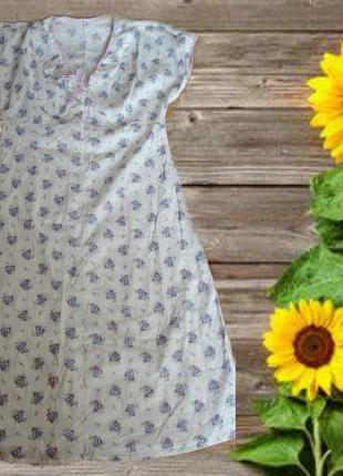 🌻🌻летняя ночнушка рубашка женская в принт фиолет букетик хлопо...