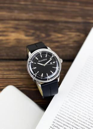 Мужские часы guardo 012651 чёрно серебряные