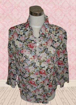 🌹🌹красивая 100 % вискоза женская блузка в цветочный принт  пол...