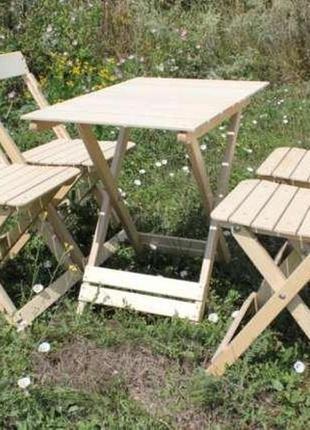 Набор складной стол + 4 стула деревянный
