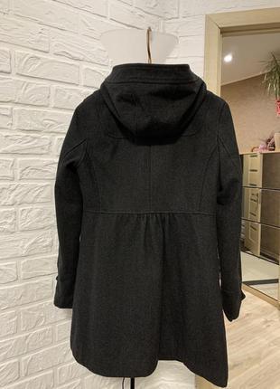 *распродажа* пальто серое шерстяное тёплое с капюшоном h&m