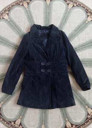 Утеплённый замшевый пиджак пальто