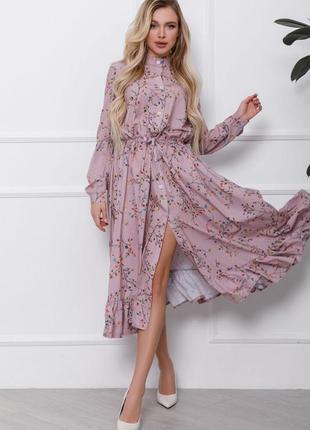 Принтованное платье-рубашка с воланом