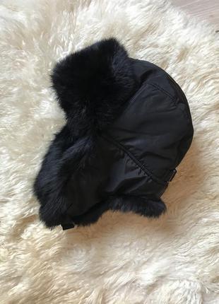 Чёрная шапка ушанка унисекс плащевка  кролик обхват 62