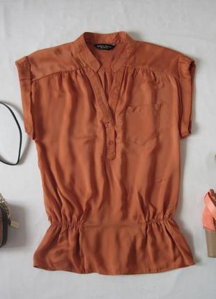 Блуза свободный крой блузка короткий рукав внизу на резинке ве...