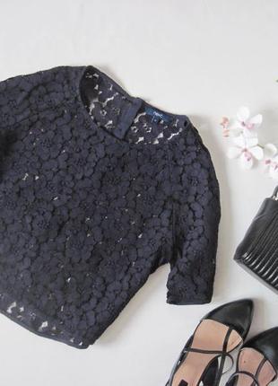 Кружевная блуза топ футболка из кружева узор цветы пуговички н...