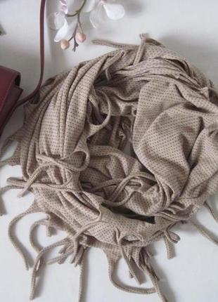 Бежевый шарф снуд хомут с бахромой topshop 100 % котон