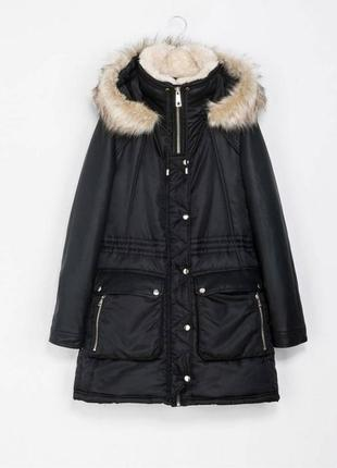 Черная парка zara теплая куртка кожаные рукава капюшон отстеги...