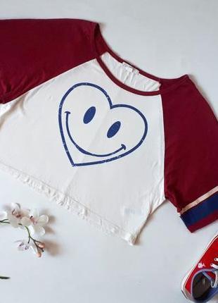 Укороченная женская футболка oversize с широкими рукавами сердце