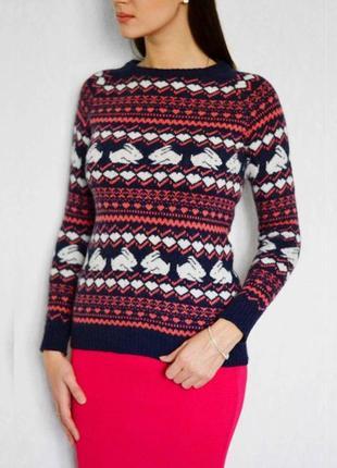 Теплый женский свитер зайчики сердечки кролики есть шерсть ангора