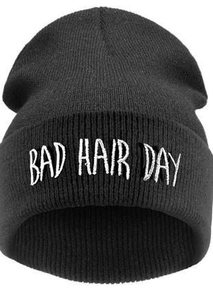 Шапка бини bad hair day унисекс чулок с отворотом