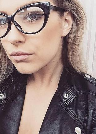 Имиджевые очки нулевки кошечки оправа кошачий глаз черные леоп...
